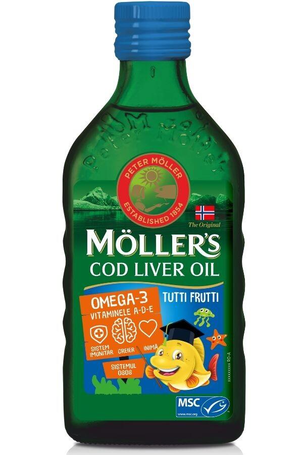 MOLLERS COD LIVER OIL OMEGA 3 TUTTI FRUTTI 250ML- in stoc