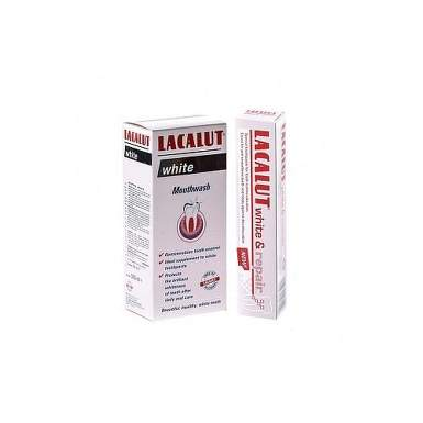 LACALUT WHITE REPAIR PASTA DE DINTI MEDICINALA 75ML + APA DE GURA ANTIPLAQUE WHITE 100ML CADOU