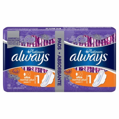 ALWAYS PLATINUM NORMAL PLUS DUO ABSORBANTE 16BUC