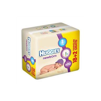 HUGGIES NEW BORN 1.2+5 KG X 18+2 BUC
