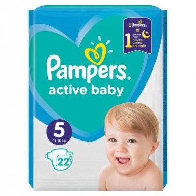 PAMPERS 5 ACTIVE BABY 11-16KG SCUTECE 22BUC