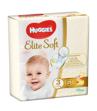 HUGGIES ELITE SOFT MARIME 3 5-9KG 21BUC