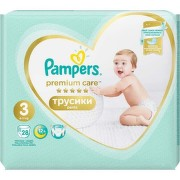 PAMPERS 3 PREMIUM CARE PANTS 6-11KG SCUTECE-CHILOTEL 28BUC